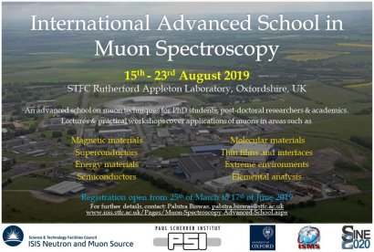 This August 15th-23rd 2019, PSI muons, ISIS muons and Oxford University jointly launch a new International Advanced School in Muon Spectroscopy!